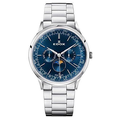 Edox - Reloj de cuarzo para hombre con pulsera de acero de 44 mm y caja 40101 3 m, diseño de Les Vauberts