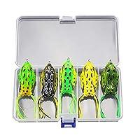 5pcs / Box Soft Grenouille Leurres de Pêche Double Crochets      Remarque: la couleur de la grenouille est aléatoire.   La description:   Nos appâts pour leurres de pêche sont en plastique, souples et élastiques. Ils créent une action de natation réa...