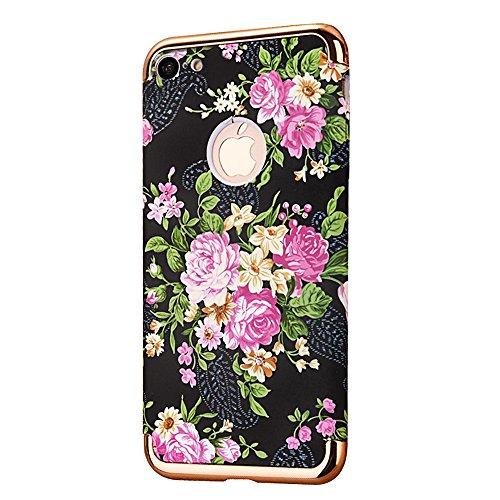 """Protecteur étui avec Détachable Plating Border pour Apple iPhone 6Plus/6sPlus 5.5""""(NON iPhone 6/6s 4.7""""), CLTPY Mode Beau Flower Impression Motif Nocturnes Lumineux Case en Dur Plastique, Ultra Fine S Pivoine Rose"""