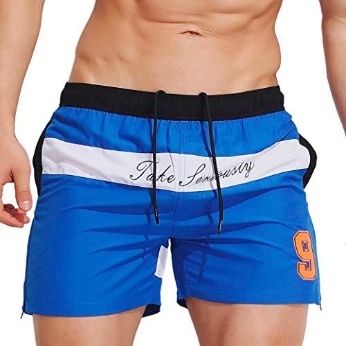 KPILP Herren Hipster Sommer Locker Atmungsaktiv Schwimmen Stämme Strandhosen Badeshort Bademode Kurze Hose Schlank Tragen Bikini Badeanzug Shorts(Blau 2,L)