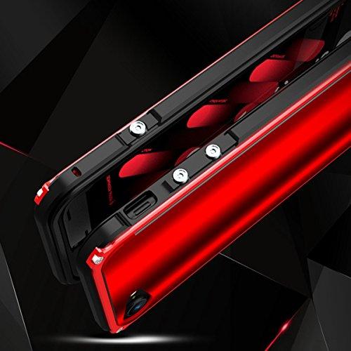 """iPhone 7 Coque ,SHANGRUN Aluminium Metal Frame Bumper Coque + Dazzle couleur PC Matériel Protictive Couvercle housse Etui Protection Case pour iPhone 7 4.7"""" / iPhone 8 Rouge+Rouge Bleu"""