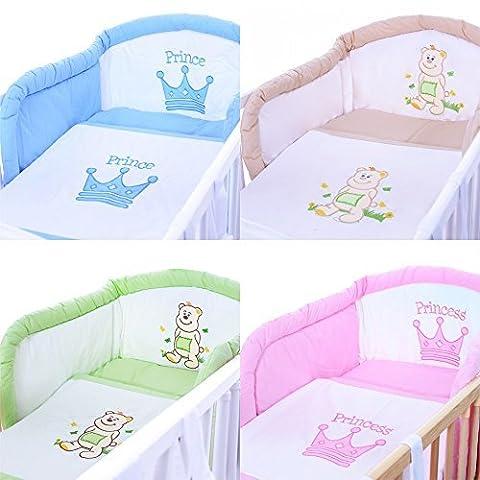 LCP Kids 175 Literie de bébé ensemble de 5 pièces linge set coton avec brodées motif Prince