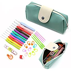 OFKPO Kit de Crochet Tricot, Crochet avec Poignée Molle, Aiguilles à Crochet et Accessoires d'Outils Tressés
