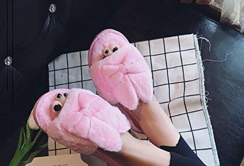 Donne Ladies Inverno Autunno Caldo Carino Pantofole Peluche Antiscivolo Indoor Indoor Open Toe Sandali Pink