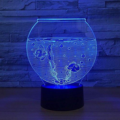 Nachtlampe des Aquarium-3d Usb-Spg.Versorgungsteil-Weihnachtsgeschenk für Baby-Raum beleuchtet reizende 7 Lampe des Farben-Änderungs-3D