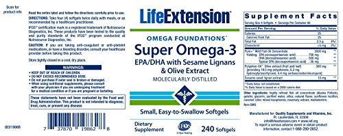 Life Extension Super Omega-3 EPA/DHA with Sesame Lignans & Olive Extract (240 Easy-to-swallow Softgels)
