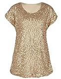 PrettyGuide Damen Pailletten Top Shimmer Glitter Lose Cap Sleeve Tunika Top Matte Gold S/EU38-40