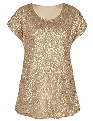 e2466cbf40af PrettyGuide Damen Pailletten Top Shimmer Glitter Lose Cap Sleeve Tunika Top  Matte Gold S EU38-40