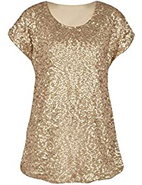 PrettyGuide Women s Sequin Top Shimmer Glitter Loose Bat Sleeve Party Tunic  Tops 0322ef8e7e