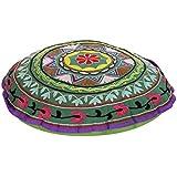 Bordado floral verde Rajrang la vendimia Decoración Puf cubierta Ronda de algodón otomana