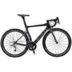 SAVADECK Phantom 5.0 700C Bicicleta de Carretera Carbon Fiber Bike con SRAM Force 22 Speed Group Set Hutchinson 25C Silla de Montar Tyco y Fizik (50cm, Gris)