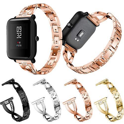 mm für Jugend-Uhr Xiaomi Huami Amazfit Bip,Luxus Edelstahl mit Schnellverschluss Armbände,Edelstahl Replacement Wrist Strap Band für Damen Herren,171mm Länge (Silber) ()