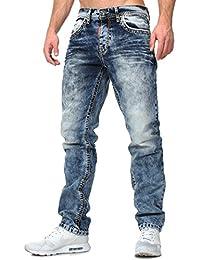 Cipo Baxx Herren Jeans Vintage Look Knöpfe Knopfverschluss Straight Fit  Five Pocket Stil Sommer verwaschen afee9b9c6e