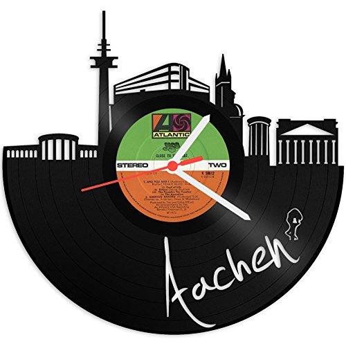 GRAVURZEILE Wanduhr aus Vinyl Schallplattenuhr Skyline Aachen Upcycling Design Uhr Wand-Deko Vintage-Uhr Wand-Dekoration Retro-Uhr Made in Germany