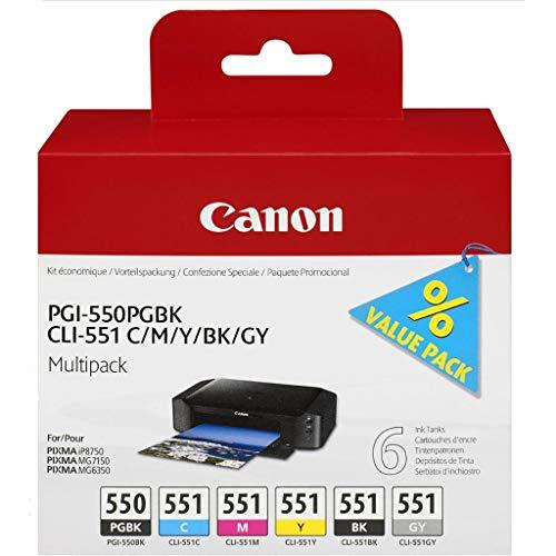 Canon PG-550+CLI-551 5 original Tintenpatrone BK/C/M/Y/PGBK für Pixma Inkjet Drucker MX725-MX925-MG5450-MG5550-MG5650-MG6350-MG6450-MG6650-MG7150-MG7550-iP7250-iP8750-iX6850