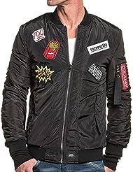 Sixth June - Bomber noir homme zippé avec patchs tendance