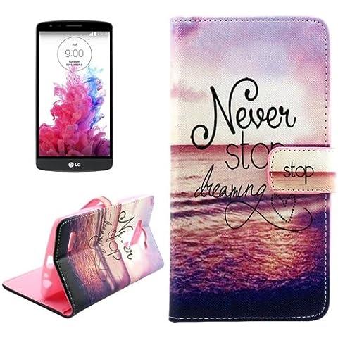 Letras para colgar en el mar cruz grano patrón funda de piel sintética con ranuras para tarjeta y soporte y cartera para LG G4