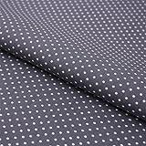 Hans-Textil-Shop Stoff Meterware Punkte 2 mm Weiß auf Grau