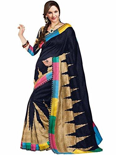 Janasya Women's Bhagalpuri Silk Printed Saree (JNE0617_Multicolour)