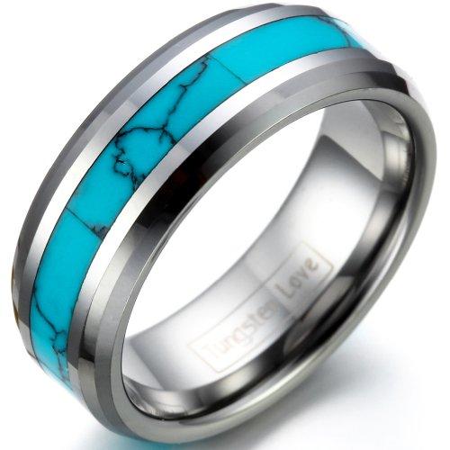 JewelryWe Schmuck Wolframcarbid Herren-Ring Synthetische Türkis Inlay 8mm Bandring Eheringe Verlobungsringe Größe 78