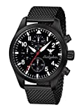 Airleader Black Steel Chronograph KHS.AIRBSC.MB Edelstahl IP-beschichtet schwarz, Meshband, KHS Tactical Watch, Einsatzuhr, Fliegeruhr