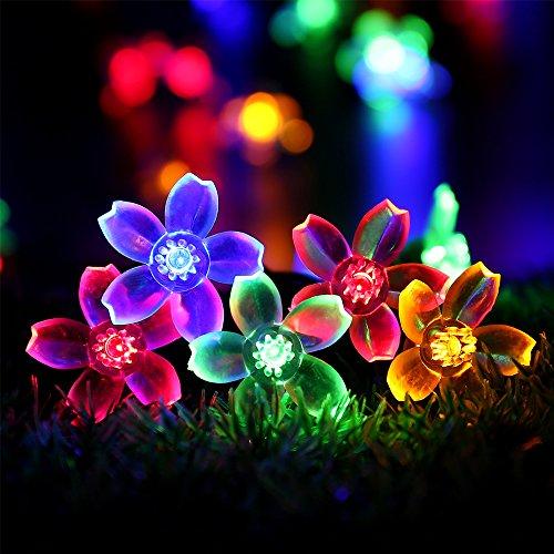 RECESKY Blume Solar Lichterketten - 50 LED 7m Solarbetriebene Weihnachten Lichterketten - Fee blühen Beleuchtung für draußen, innen, garten, yard, rasen, party, schlafzimmer, fenster, girlande, weihnachtsbaum Dekoration