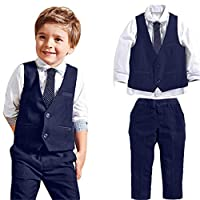 KaloryWee Baby Boys Gentleman Wedding Suits Shirts+Waistcoat+Long Pants+Tie Clothes 1Set Party Suit