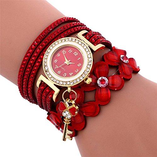 Uhren Yesmile Damen Mehrschichtige Hand Wind Perlen Armband Uhr Vintage Bohemia für Mädchen Frauen Armbanduhr (Rot)