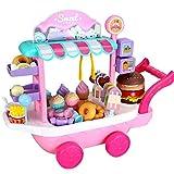 iBaste Rollenspiel Kinder Pretend Play Set Lebensmittel Farben Lernen Eiswagen Eiscreme Trolley Kinderspiele für Kinder ab 3 Jahren 36 Stücke