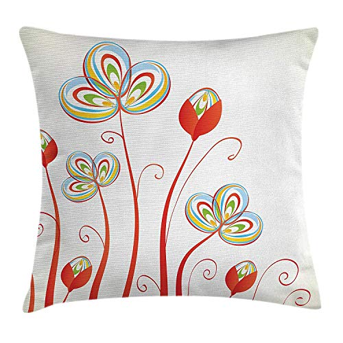 KLYDH Floral Throw Pillow Cushion Cover, Vintage Flower Petals Blossoms Florets Retro Nature Beauty Elegance Image, Decorative Square Accent Pillow Case, 18 X 18 inches, Sky Blue Red Yellow -
