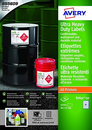 Avery B7651-50 Extra Strong Adhesive, Ultra Heavy Duty Industrial  Waterproof GHS Labels, 65 Labels Per A4 Sheet