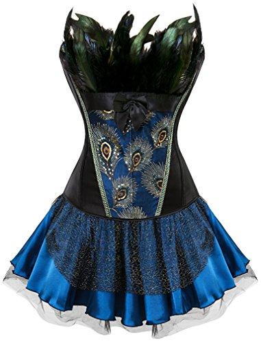 EUDOLAH Damen Vintage Gothic Corsage Burlesque Vollbrust Korsett Korsagenkleid mit Rock Petticoat Halloween Kostüme Pfau Pattern mit Federn Übergrößen A-Schwarz-Blau XL