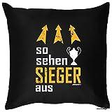 Kissen mit witzigem Motiv - So sehen SIEGER aus - Pokal - Geschenk - Zierkissen - Couch Kissen