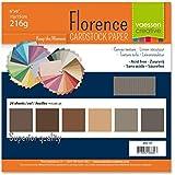 Vaessen creative 2923-107 Florence Papier Cartonné, 6 couleurs, 216g, 15 x 15 cm, 24 Feuilles (4 x 6 couleurs, Texture toile