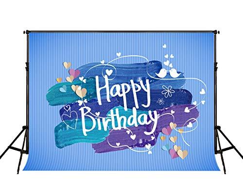 KateHome PHOTOSTUDIOS 2,2x1,5m Geburtstag Fotografie Hintergrunde Happy Birthday Party Foto Hintergrund Microfiber Graffiti Fotohintergrund