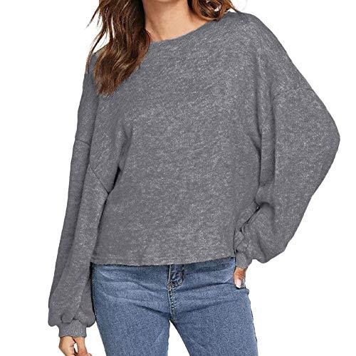 Damen Oberteile MYMYG Herbst Damen Casual Langarm Soild Pullover Tops O Neck Bluse Lose Tee Herbst und Winter Sweatshirt(Grau,EU:40/CN-XL)