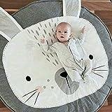 Alfombra Bebe Acolchada Animales Conejo Estera de Arrastre del Bebé Habitación Decoración Infantil Tapete De Juego Redonda Manta Regalo Navidad Niña