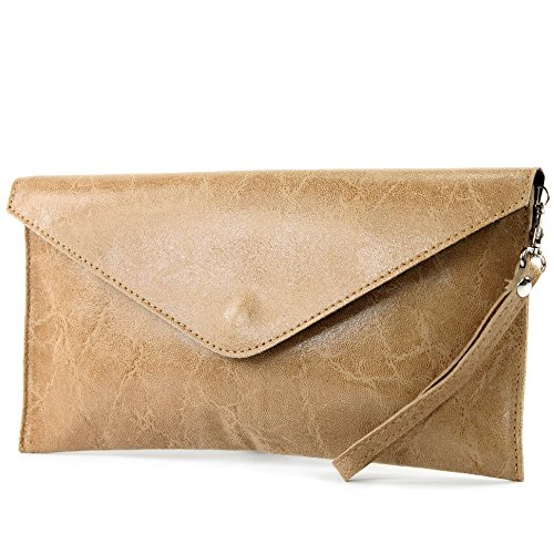 modamoda de - ital. Ledertasche Clutch Unterarmtasche Abendtasche Damentasche Handgelenktasche Glattleder T106G Hellcamel
