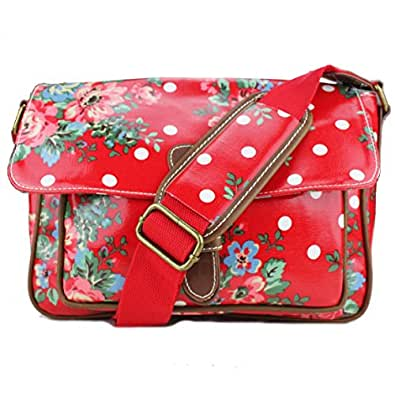 Ladies Small Oilcloth Floral Polka Dot Messenger Satchel Bag (Red)