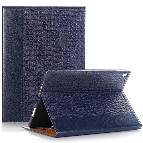 Hülle für iPad Air 2 9.7 Zoll, TechCode Luxus BookStyle Folio Case Auto aufwachen / Schlaf Funktion Smart Case Wickelfalz PU Ledertasche mit Schwarz Rückseite Abdeckung Schutzhülle für Apple iPad air 2 9.7'' (iPad air 2, Blau)