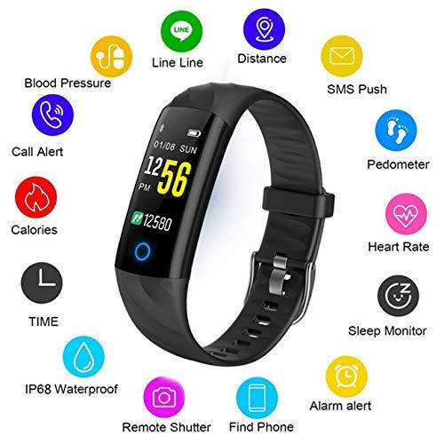 LIGE Fitness Armband,Bluetooth wasserdichte Smart Uhr mit Pulsuhr,Fitness Tracker Men Intelligente Schrittzähler Aktivitäts Tracker Women Pulsmesser Kalorienzähler Schwarz Sport Armband