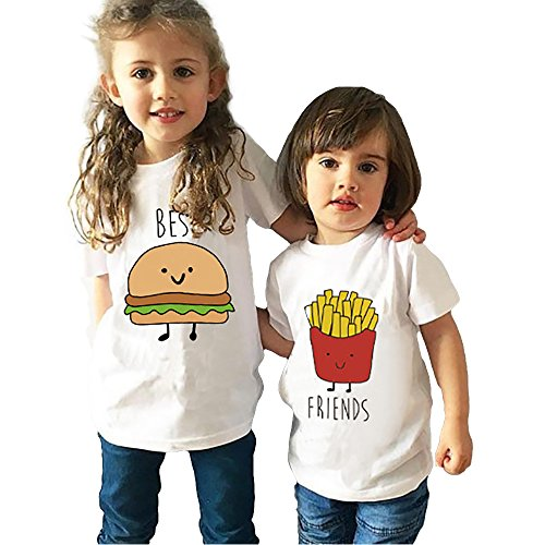 *Mädchen Jugen T-Shirt Best Friend Kind Kleidung Sommer JWBBU® Guter Freund Hamburger Pommes Frites Shirt Weiß Süß Oberteil mit Aufdruck Geschenk 2 Stücke (Best-L+Fr-S, Best und Friends)*