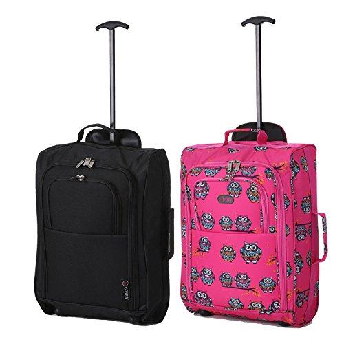 Set de Deux Bagage à Main Valise à Roulettes Bagage de Cabine (Noir + Rosé)