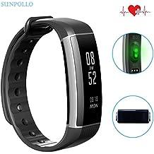 SUNPOLLO Fitness Tracker Zeband Plus IP67 Pulsera de actividad física y ritmo cardiaco Smartwatch con Reloj integrado pulsómetro HR en la muñeca podómetro para Android y IOS Smart Teléfono