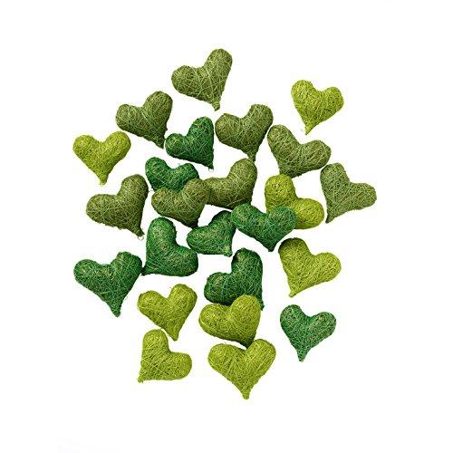 Weddix Sisalherzen als Streudeko - Tischdeko Hochzeit, romantische Deko Herzen für Valentinstag, Liebeserklärung und Heiratsantrag, grün