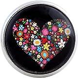 Morella Damen Glas Click-Button Druckknopf Herz aus Blumen