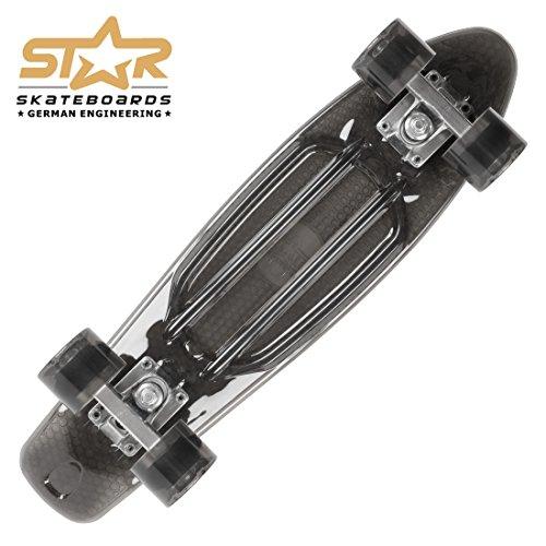 STAR-SKATEBOARDS® Vintage Cruiser Board ★ 22er Trendy Transparent Edition ★ Teuflisch Schwarz -