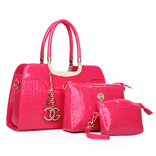 Frauen-PU-Leder-Handtaschen-neues Dreiteiliges Mutter-Paket-Damen-Art- Und Weisekrokodil-Muster-gesteppte Tasche,Pink-OneSize (Neue Handtasche Gesteppte)