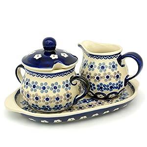 Bunzlauer Keramik Manufaktura Hand-Decorated Polish Pottery Sugar and Creamer Set with Tray Dekor Leonie