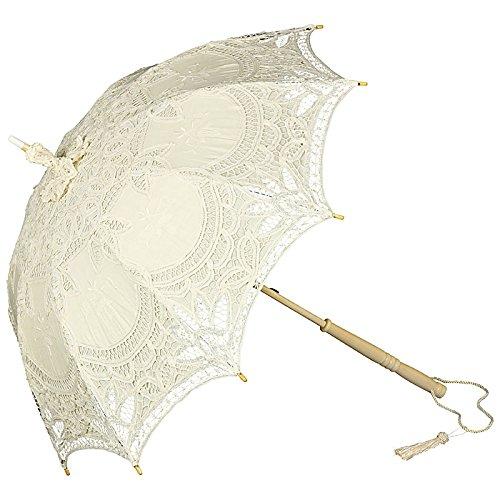 enschirm Damen Mode Sonnenschirm Brautschirm Hochzeitsschirm Marietta Spitze und langer Stock aus Holz mit verspielter Troddelquaste beige/dunkles creme (19 Jahrhundert Kostüme)
